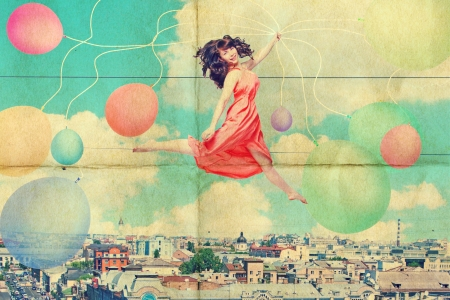 art collage with beautiful young woman in jump, vintage Stock Photo