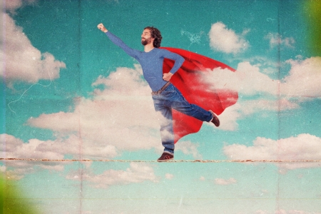 superman on sky, art collage Stock Photo