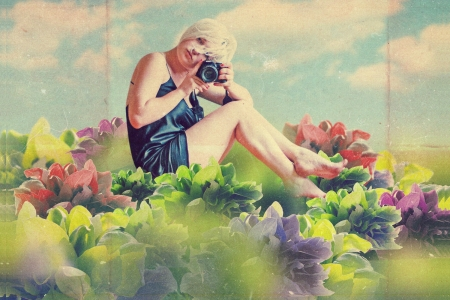 art collage with beautiful woman, vintage image photo