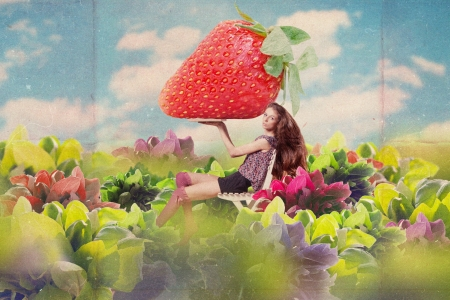 art collage with beautiful woman with strawberrie, vintage image photo