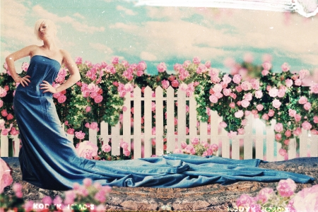 red pin: art collage with beautiful woman in garden, art collage Stock Photo