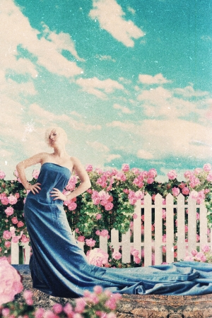 art collage with beautiful woman in garden, art collage photo