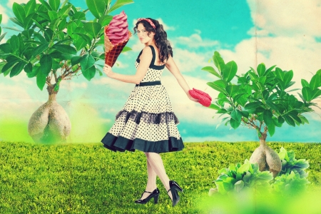 art collage with beautiful woman in garden photo