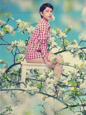 cumulus cloud: art collage with beautiful woman, vintage