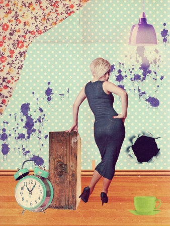 art collage with beautiful woman, vintage photo