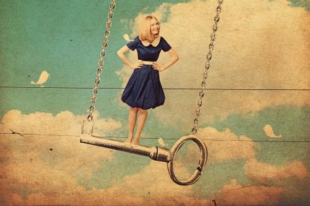 kunst collage met mooie vrouw op sleutel, vintage