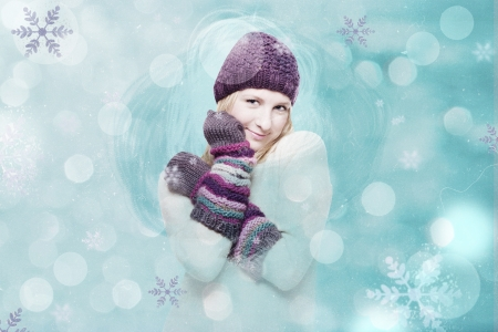 woman sweater: art collage with winter girl, vintage Stock Photo