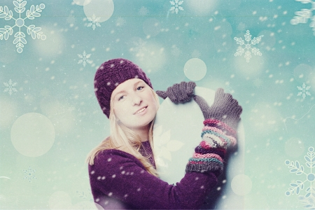 art collage with winter girl photo
