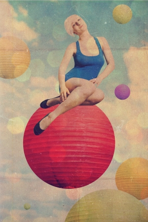 art collage with beautiful woman, retro style photo