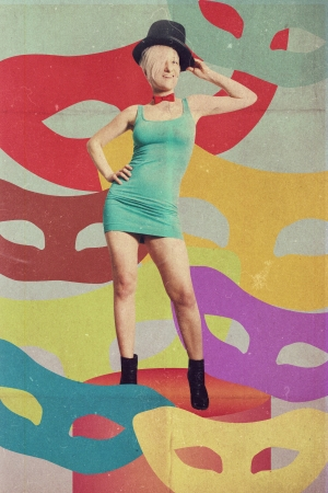 art collage with beautiful woman, retro style Stock Photo - 17643307