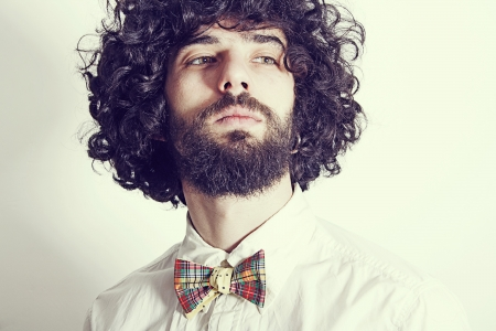 portrait of handsome man with bow-tie Stock Photo