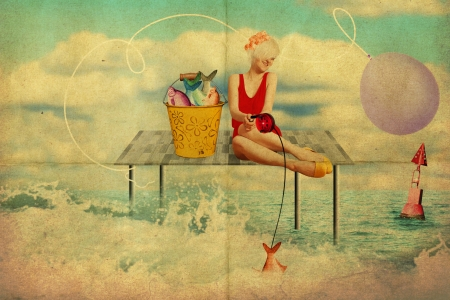 art collage with beautiful woman, retro style, fantasy photo