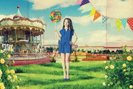 amusement: art vintage collage with beautiful woman, creative work
