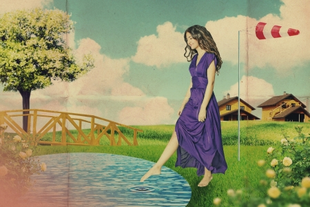 art vintage collage with beautiful woman, creative work photo
