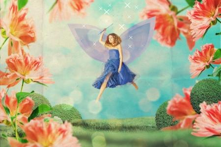 beautiful woman in fairy garden photo
