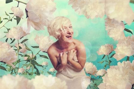 beautiful woman in fairy garden, retro photo