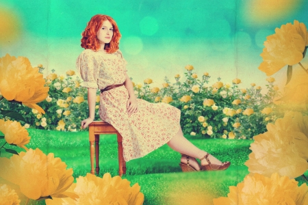 beautiful woman in fairy garden, art work photo