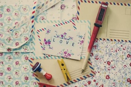 art postcard on desctop, colofrul paper, vintage cards