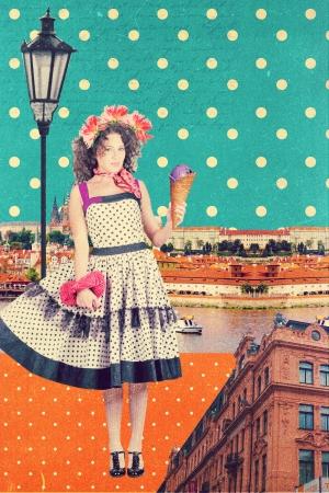 art postcard with Prague, Czech Republic, vintage style photo