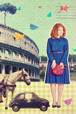 art postcard Roma, Italy, vintage style photo