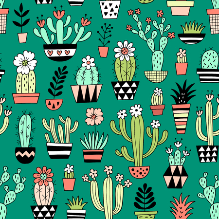 Cute blooming vector cactuses on green background. Perfect for fabric, wallpaper, wrapping paper or nursery decor.