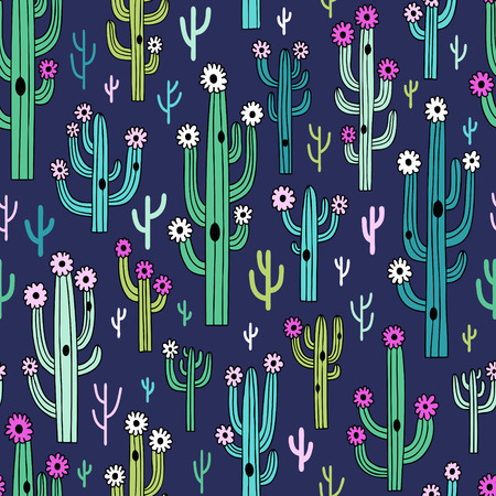 Cute blooming cactuses on dark blue background. Perfect for fabric, wallpaper, wrapping paper or nursery decor.
