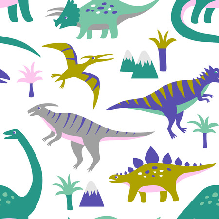 Hand drawn seamless vector pattern with cute dinosaurs, mountains and palm trees. Repetitive wallpaper on white background. Perfect for fabric, wallpaper, wrapping paper or nursery decor. Illustration