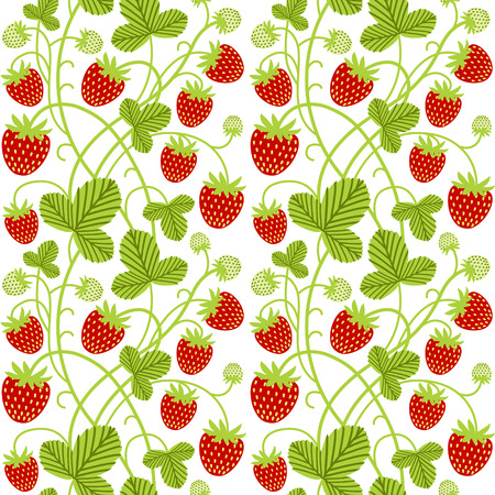 Strawberry seamless vector pattern on white background. Perfect for fabric, wallpaper, wrapping paper or nursery decor. 向量圖像