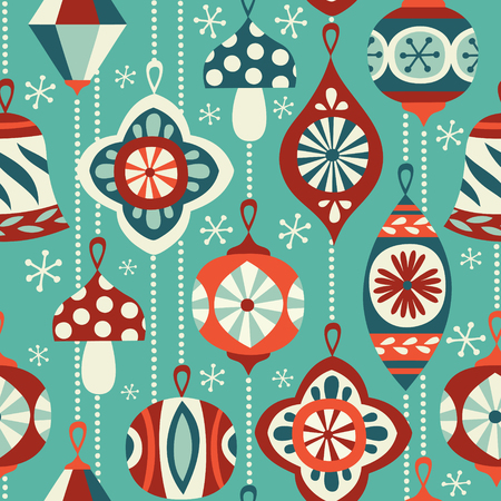 Vintage Christmas ornaments seamless vector background. Hand drawn repetitve pattern. Perfect for fabric, wallpaper or wrapping paper.