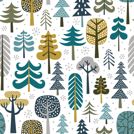 Winter snowy woods seamless pattern. Silhouettes of cute snowy trees on white background. Repetitive christmas vector wallpaper. Perfect for fabric, wallpaper, wrapping paper or nursery decor.