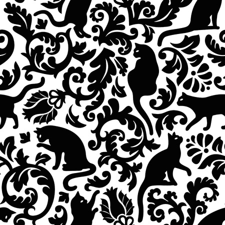 Seamless black and white cat damask vector pattern.