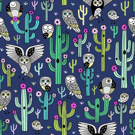 Cute blooming vector cactuses and desert owls on dark blue background. Perfect for fabric, wrapping paper or nursery decor.