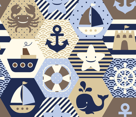 Seamless nautical themed vector pattern. Perfect for fabric, wrapping paper or nursery decor.