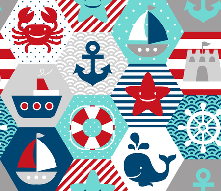 Seamless nautical themed vector pattern. Perfect for fabric, wrapping paper or nursery decor. Stock fotó - 103062349
