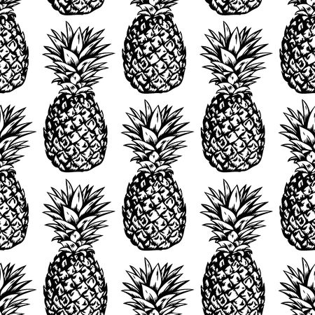 Seamless vector pattern with hand drawn black pineapples on white background.