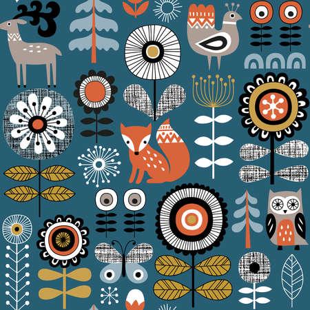 Dibujado a mano patrón de vector transparente sobre fondo azul oscuro. Dibujo estilo escandinavo de flores, animales del bosque y motivos tradicionales. Perfecto para tela, papel tapiz o papel de regalo. Ilustración de vector