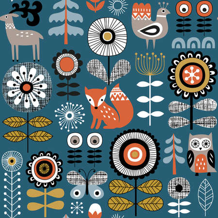 Hand gezeichnetes nahtloses Vektormuster auf dunkelblauem Hintergrund. Zeichnung im skandinavischen Stil von Blumen, Waldtieren und traditionellen Motiven. Perfekt für Stoff, Tapeten oder Geschenkpapier. Vektorgrafik