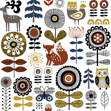 Hand drawn seamless vector pattern on white background. Scandinavian style drawing of flowers, woodland animals and traditional motifs. Perfect for fabric, wallpaper or wrapping paper. Stock fotó - 103109341