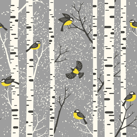 Snowy birch trees and birds on light grey background. Seamless vector pattern. Perfect for fabric, wallpaper, giftwrap or postcard design. Stock fotó - 103109345