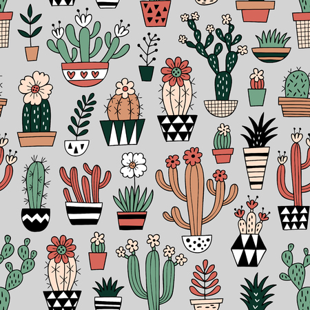 Cute blooming vector succulent plants and cactuses on grey background. Perfect for fabric, wallpaper, wrapping paper or nursery decor.