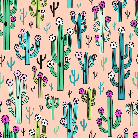 Cute blooming vector cactuses on pink background. Perfect for fabric, wallpaper, wrapping paper or nursery decor.