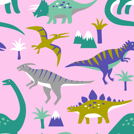 Hand drawn seamless vector pattern with cute dinosaurs, mountains and palm trees. Repetitive wallpaper on pink background. Perfect for fabric, wallpaper, wrapping paper or nursery decor.