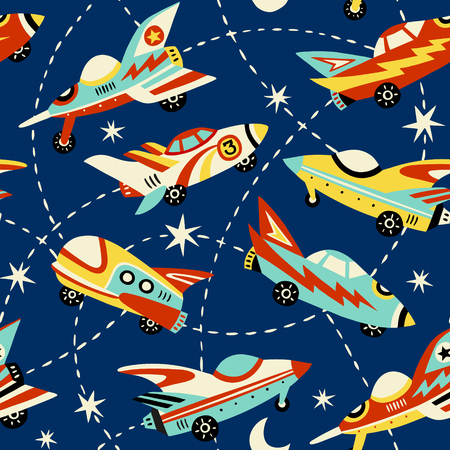 Vintage space cars seamless vector pattern on dark blue background.  Cute hand drawn cars, rockets, stars and moon. Perfect for fabric, wallpaper or wrapping paper.