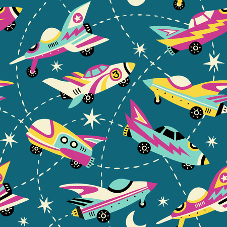 Vintage space cars seamless vector pattern on teal background.  Cute hand drawn cars, rockets, stars and moon. Perfect for fabric, wallpaper or wrapping paper. 矢量图像