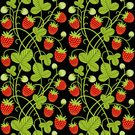 Strawberry seamless vector pattern on black background. Perfect for fabric, wallpaper, wrapping paper or nursery decor.