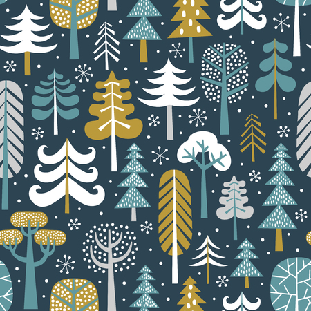 Winter snowy woods seamless pattern. Silhouettes of cute snowy trees on dark blue background. Repetitive christmas vector wallpaper. Perfect for fabric, wallpaper, wrapping paper or nursery decor.