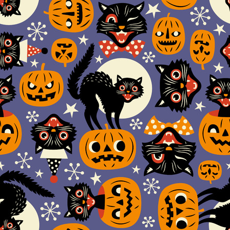 Gatti spettrali vintage e zucche di halloween modello vettoriale senza soluzione di continuità su sfondo viola. Vettoriali