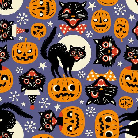 Vintage espeluznantes gatos y calabazas de halloween patrón transparente de vector sobre fondo púrpura. Ilustración de vector