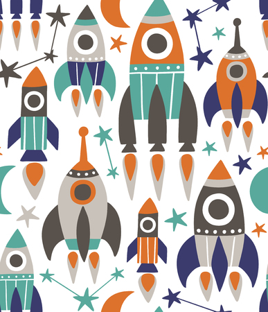 Seamless repeat vector pattern with cute rockets, stars and moon.