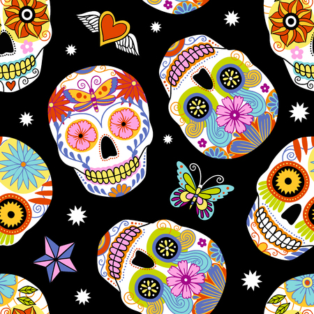 Seamless repeat vector pattern with traditional mexican sugar skulls. Иллюстрация